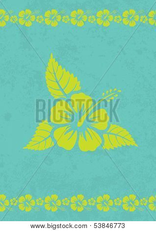 Grungy aloha background with hibiscus flower