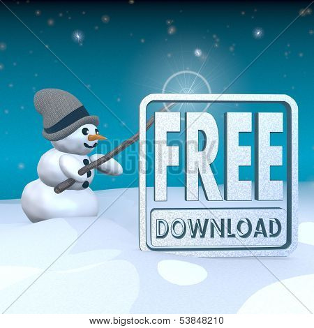 Snowman With Magic Wand And Free Download Symbol