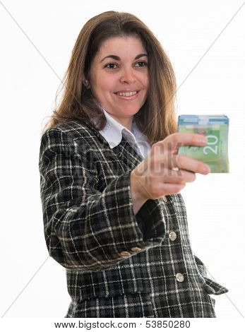 Woman Handing Out Money
