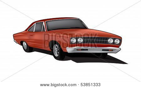Brown Vintage Car Illustration
