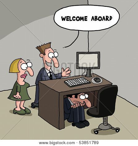 New male office worker cartoon gag