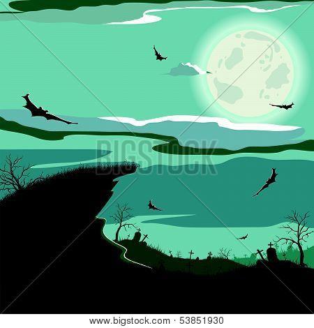 Halloween night (bat,grave, gravestone, graveyard, moon, house, tree, witch)