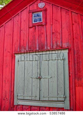 Detail Of A Red Wooden House