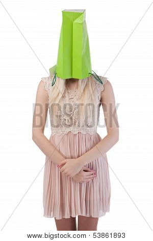 Young Woman With Shopping Bag On The Head
