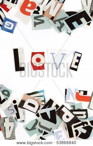 Love inscription made with cut out letters