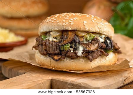 Steak And Cheese Mushroom Melt