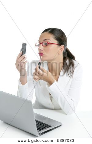 Businesswoman With Lipstick And Mobile Phone
