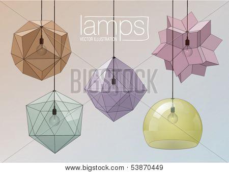 Set of decorative glass ceiling lights. Geometric form