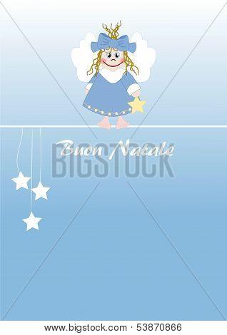 Cute Little Angel Italian Text: Merry Christmas