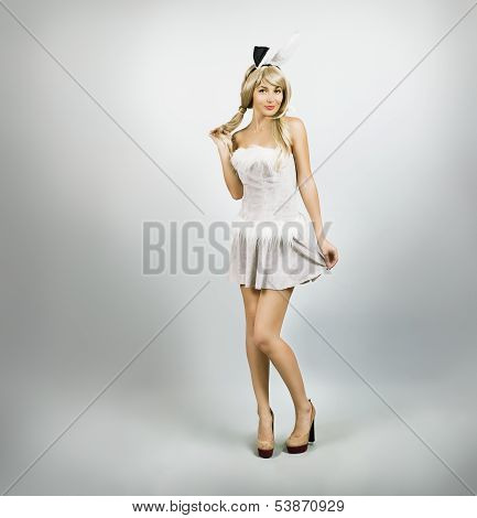 Sexy Woman in Bunny Costume with Rabbit Ears