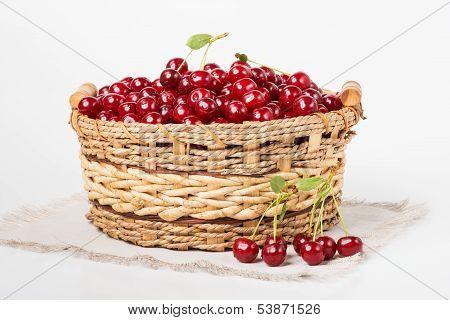 Sweet Juicy Cherry In Basket
