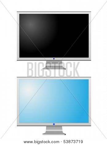 Turned off and turned on LCD monitors isolated on white Raster version of vector id:30480958