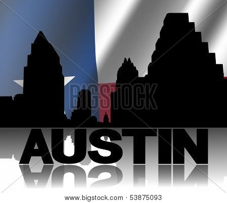 Austin skyline and text reflected with rippled Texan flag illustration