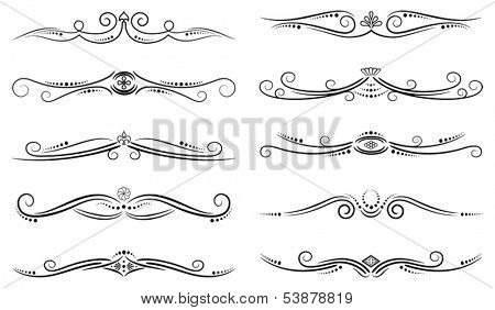 Set of ten vector page decorations
