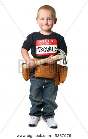 Young Construction Worker Holding A Hammer