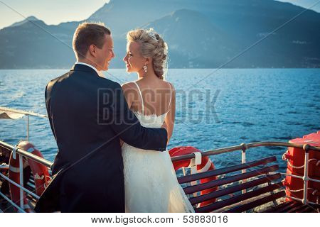 Young married couple on the ship