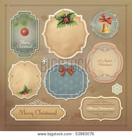 Christmas vintage labels set. Vector eps10.