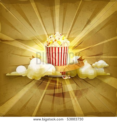 Popcorn, old style vector background