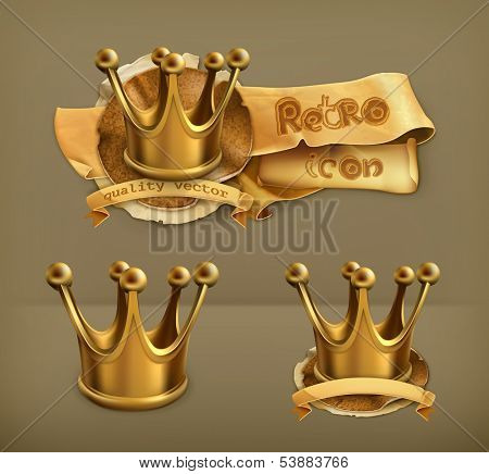 Gold crown, vector icon
