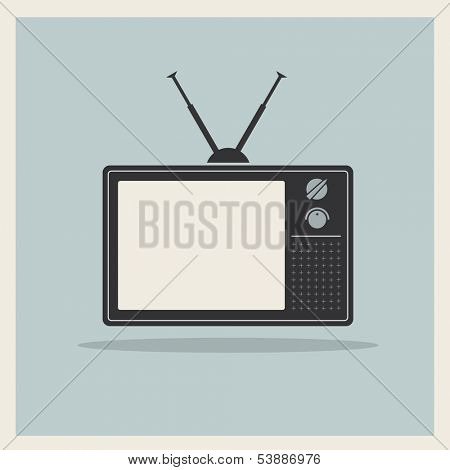Retro crt tv receiver on vintage background vector
