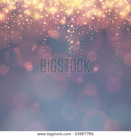 holiday background with festive descending lights and bokeh