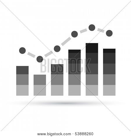 Illustration of Grey Stats Graph isolated on a white background