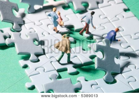 Flying Jigsaw Pieces