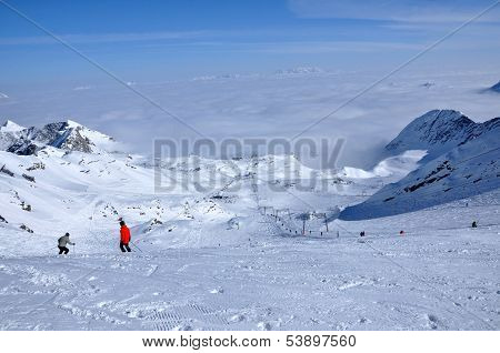 Ski slopes in the Alps. Kitzsteinhorn, Austria