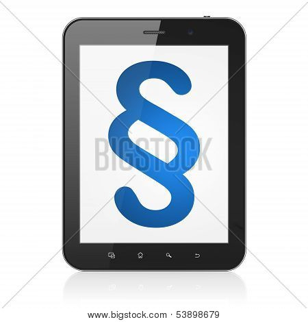 Law concept: Paragraph on tablet pc computer