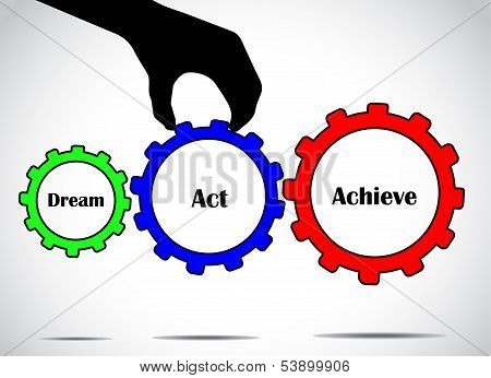 Dream Act Or Take Action And Achieve Your Goal Concept Design Vector Illustration Art