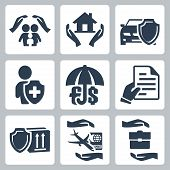stock photo of policy  - Vector insurance icons set - JPG