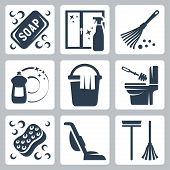stock photo of broom  - Vector cleaning icons set - JPG