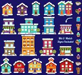 stock photo of suburban city  - Collection of Vector Christmas or Winter City and Town Buildings with Mix and Match Signs - JPG