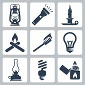 stock photo of bonfire  - Vector light and lighting appliances icons set - JPG