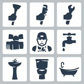 stock photo of adjustable-spanner  - Vector plumbing icons set - JPG