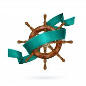 stock photo of nautical equipment  - image of the wheel that encircles the tape aqua on white background - JPG