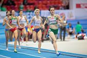 GOTHENBURG, SWEDEN - MARCH 1 Ciara Everard (Ireland) 1st wins heat 2 of the women's 800m event durin