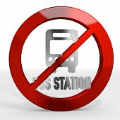 stock photo of posh  - Dark red forbidden transport 3d graphic with posh bus station sign not allowed - JPG