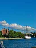 Castle And Yacht In Stockholm Harbour (sweden)