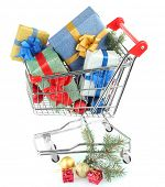 stock photo of trolley  - Christmas gifts in shopping trolley - JPG