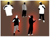 stock photo of gangsta  - Set of gangsta 5 poses and attitudes - JPG