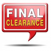 final clearance and big stock sale icon or sign for webshop sales or web shop button