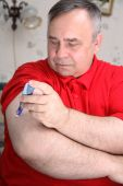image of diabetes mellitus  - The man does a prick in a hand - JPG