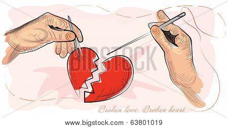 Broken love. Broken heart.