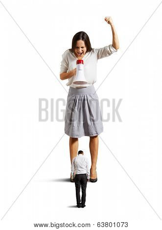 discontented woman screaming at guilty man. isolated on white background
