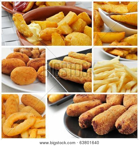 a collage of different fried food, such as french fries, croquettes or fish sticks