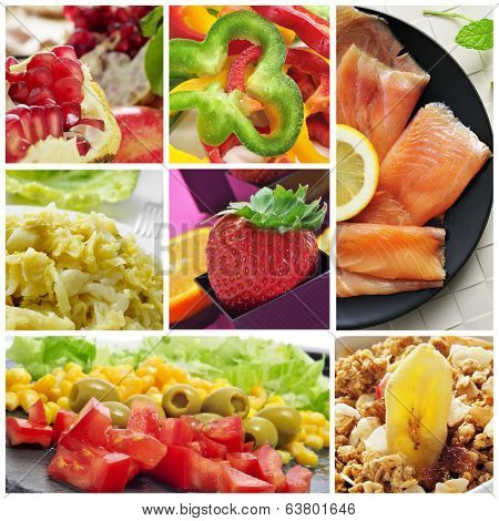 a collage of different healthy eating