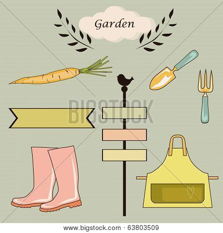 gardening items, boots, plates, tools, vegetables, background, vector