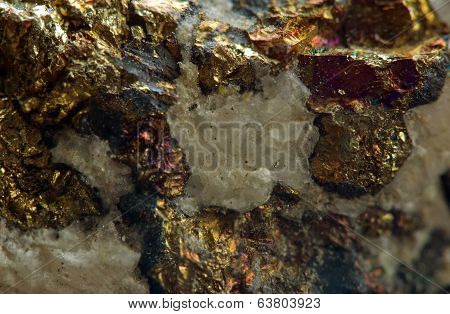 Chalcopyrite  Is A Copper Iron Sulfide Mineral That Crystallizes In The Tetragonal System. Macro