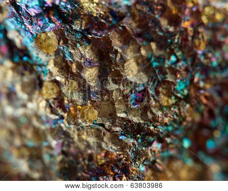 Bronze, Copper, Iron. Macro. Extreme Closeup
